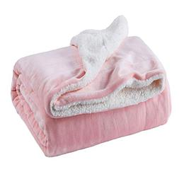 Bedsure Sherpa Throw Blanket Pink Throw Size 50x60 Bedding F