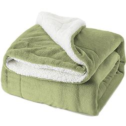 Bedsure Sherpa Throw Blanket Sage Green Throw Size 50x60 Bed
