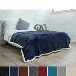 PAVILIA Premium Sherpa Twin Size Blanket | Flannel Fleece Tw