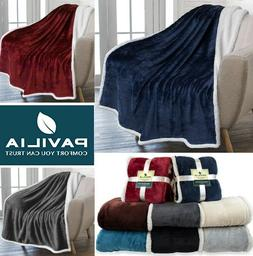 Sherpa Throw Blanket Solid Fleece Bed Blanket Plush Soft War