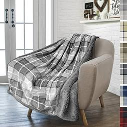 PAVILIA Premium Plaid Fleece Sherpa Throw Blanket   Super So