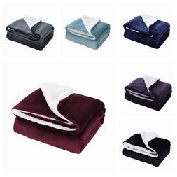 Sherpa Throw Blankets Velvet Reversible Solid Blanket Borreg