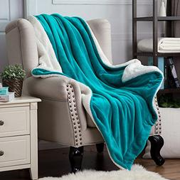 Bedsure Sherpa Throw Blanket Teal Twin Size 60x80 Bedding Fl