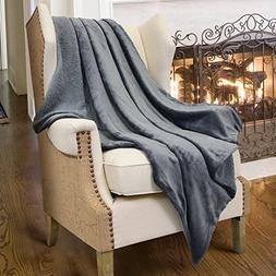 Grey Sherpa Throws Blanket, Super Soft Fuzzy Comfy Micro Plu
