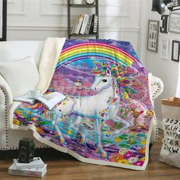 Unicorn Super Warm Blanket Throw Soft Sherpa Fleece Premium