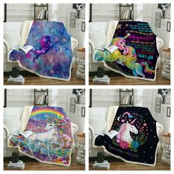 Sherpa Unicorn Blanket Rug For Couch Sofa Bed Throw Soft Tap