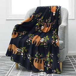 Jekeno Sloth Print Throw Blanket Smooth and Soft Blanket Kid