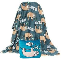 "Sloth Siesta Super Soft Throw Blanket 50x60"" and Throw Pillo"