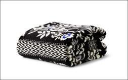 New Vera Bradley Snow Lotus Fleece Blanket Throw Black Blue