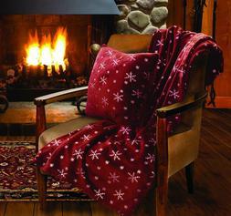 snowflake holiday throw blanket pillow