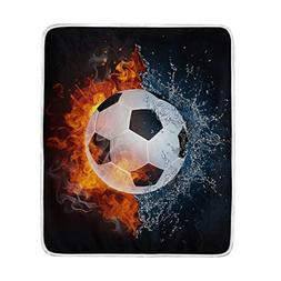 My Little Nest Soccer Ball In Fire And Water Soft Warm Throw