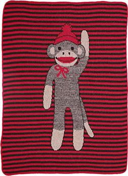 Green 3 Sock Monkey Stripe Throw Toddler Blanket