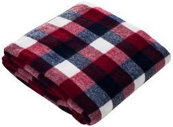 Lavish Home Soft Blanket Throw 50 x 60 - Red/Blue/White