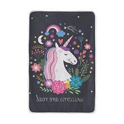 Vantaso Soft Blankets Throw Colorful Unicorn andflowers Blac