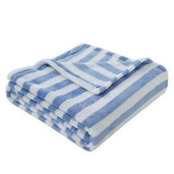 Soft Blue Floral White Striped Plush Flannel Fleece Throw Bl