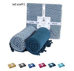 HILLFAIR 100% Soft Cotton Chevron Throw Blankets – Sofa Co