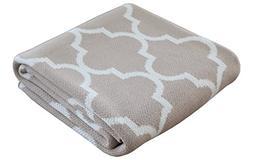 "Soft Cotton Knit Throw Blanket - Linen| Casablanca 50""x60"""