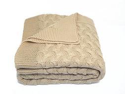 Soft 100% Cotton Throw Blanket, Knit Crochet Sweater Texture