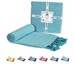 HILLFAIR 100% Soft Cotton Throw Blanket – Chevron Aqua Thr