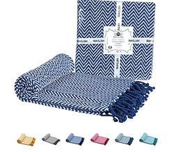 100% Soft Cotton Throw Blanket – Chevron Blue Throw Blanke