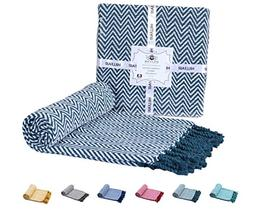 100% Soft Cotton Throw Blanket – Teal Chevron Throw Blanke