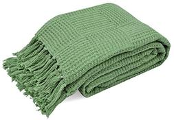TreeWool 100% Soft Premium Cotton Throw with Fringes Light W