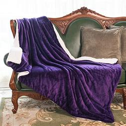 "HoroM Sherpa Throw Blanket Purple 50""x60"" Microfiber Reversi"
