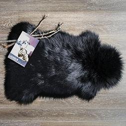 Ashler Soft Faux Sheepskin Fur Chair Couch Cover Black Area