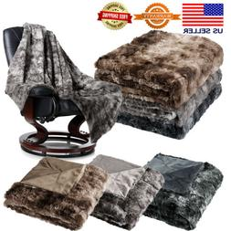Soft Cozy Warm Fluffy Faux Fur Bed Sofa Blanket Throw Plush