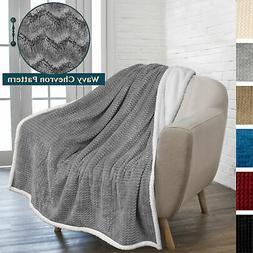 Soft Fuzzy Warm Cozy Throw Blanket with Sherpa Fleece Revers