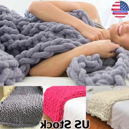 Soft Handmade Chunky Knitted Blanket Thick Line Yarn Knitted