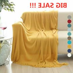 Soft Knit Throw Blanket Warm Sofa Bed Chair Couch Cover Home