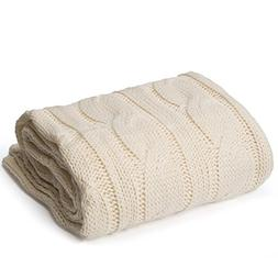 "battilo Soft Knitted Dual Cable Throw Blanket, 50"" W x 60"" L"