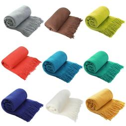 Soft Knitted Throw Blanket Bed Sofa Solid Warm Blanket Textu