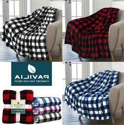 Checkered Fleece Throw Blanket Soft Plush Fuzzy Classic Plai