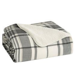 Bedsure Soft Lightweight Plaid Sherpa Throw Blanket Fleece B