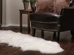 Chanasya Super Soft Faux Fur Fake Sheepskin White Sofa Couch