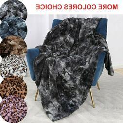 Soft Mink Faux Fur Throw Fleece Warm Large Sofa Bed Blanket