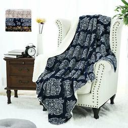 Soft Plush Floral Paint Fleece Blanket Warm Reversible Blank