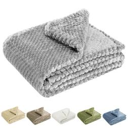 Soft Throw Blanket 300GSM Reversible Warm Faux Fur Fleece fo