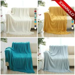 Soft Throw Blanket Warm Knit Textured Fringe Sofa Bed Couch
