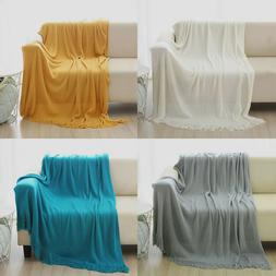 Soft Throw Blanket Warm Knit Textured Solid for Bed Sofa Cou