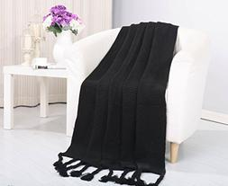 Soft Touch Classic Woven Knitted Throw Blanket with Fringe