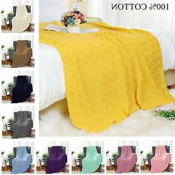 Soft Warm 100% Cotton Cable Knit Throw Blanket for Couch Bed