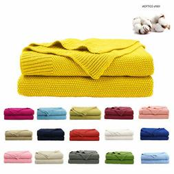 Soft Warm 100% Cotton Knitted Throw Blanket Home Decor Sofa