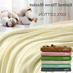 Soft 100% Cotton Solid Decorative Knitted Sofa / Bed Throw B