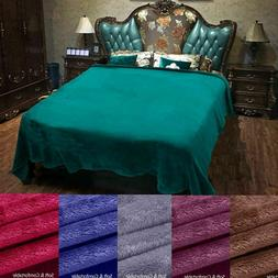 Soft Warm Plush Fleece Blanket Solid Throw Flannel Blanket S