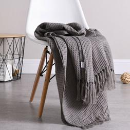 Soft Woven Waffle Weave Pattern Decorative Throw Blanket wit