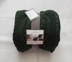 Threshold Solid Cable Knit Chenile Throw Blanket Green, New