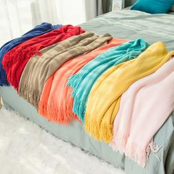 Solid Color Throw Blanket Soft Warm Spring Fringe Tassel Hom